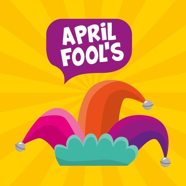 Poisson D'avril Avec Chapeau Arlequin Sur Fond Jaune. Illustration Vecteur Premium