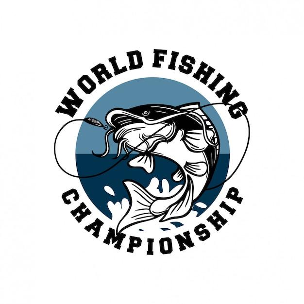 Poisson-chat Saute Sur Le Crochet De Capture D'eau Insigne Du Logo Du Championnat Du Monde De Pêche Vecteur Premium