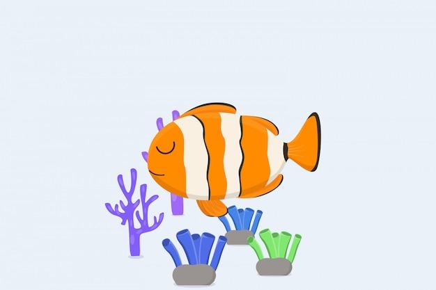Poisson Clown Et Récifs Coralliens De Fond Vecteur Premium