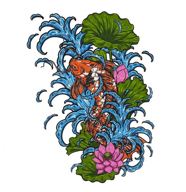 Poisson koi avec vecteur de lotus à la main dessin Vecteur Premium