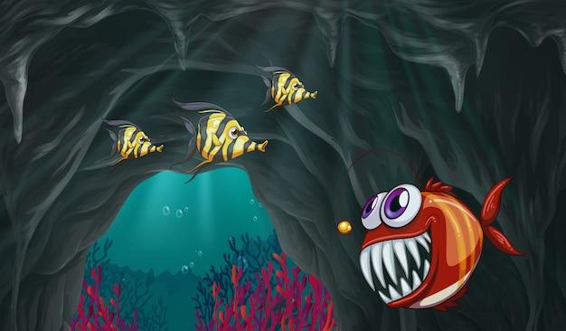 Poisson nageant sous l'océan Vecteur gratuit