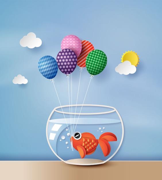 Poisson rouge concept illustration avec ballon coloré, Vecteur Premium