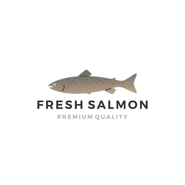Poisson saumon logo étiquette de fruits de mer insigne vecteur autocollant télécharger Vecteur Premium