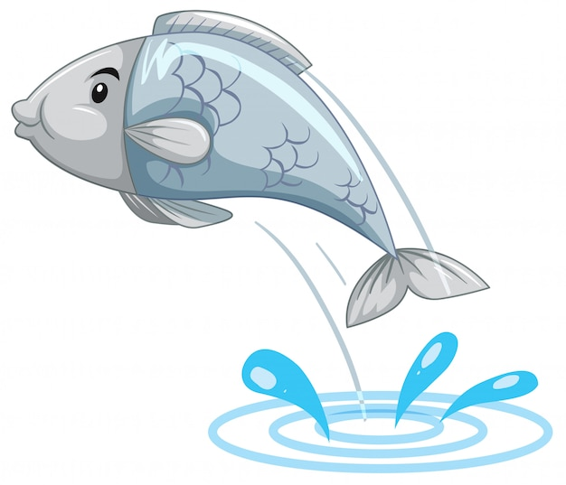 Poisson simple sautant de l'eau Vecteur Premium