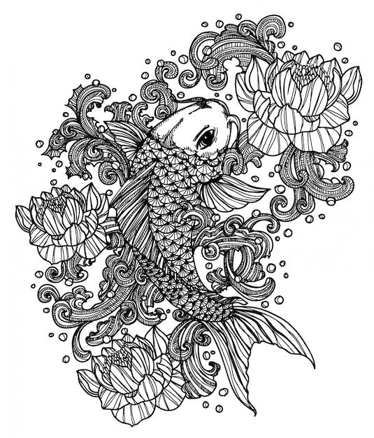 Poisson tatouage Vecteur Premium