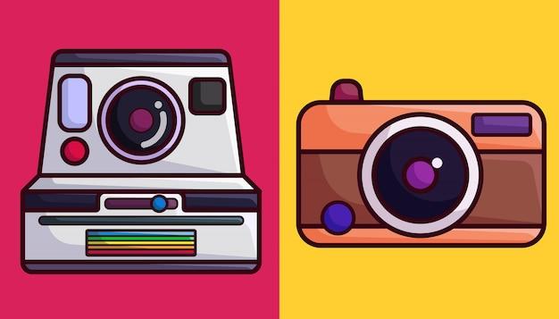 Polaroid et caméra analogique Vecteur Premium