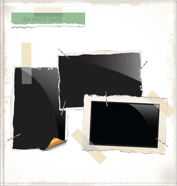 Polaroid photo fraes Vecteur Premium
