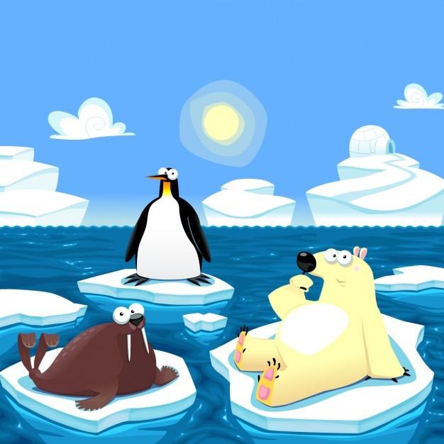 Pôle nord animaux fond Vecteur gratuit