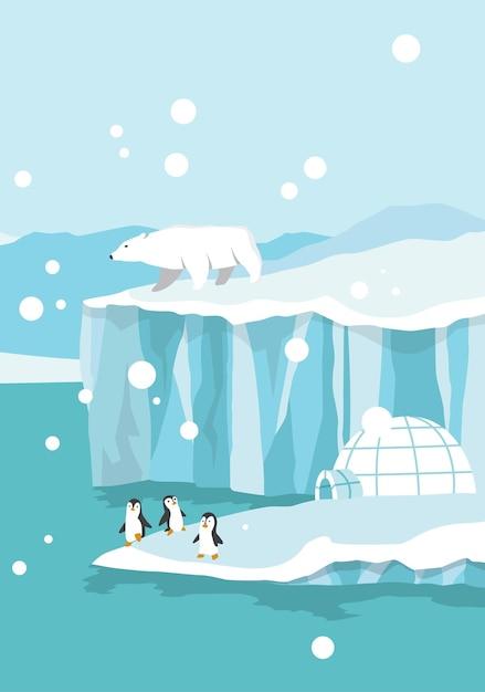 Pôle Nord De L'arctique. Ours Blancs Et Pingouins Sur La Dérive Et La Fonte Des Glaciers Dans L'océan Vecteur Premium