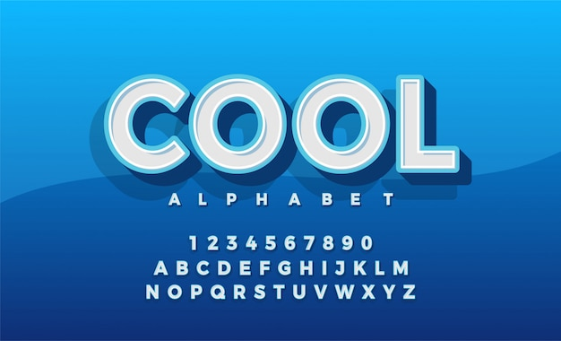 Police 3d alphabet retro typeace. typographie classique Vecteur Premium