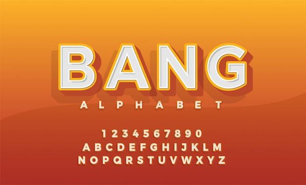 Police 3d alphabet retro typeace Vecteur Premium