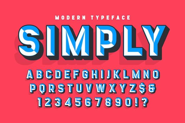 Police d'affichage conçue avec des facettes, alphabet Vecteur Premium