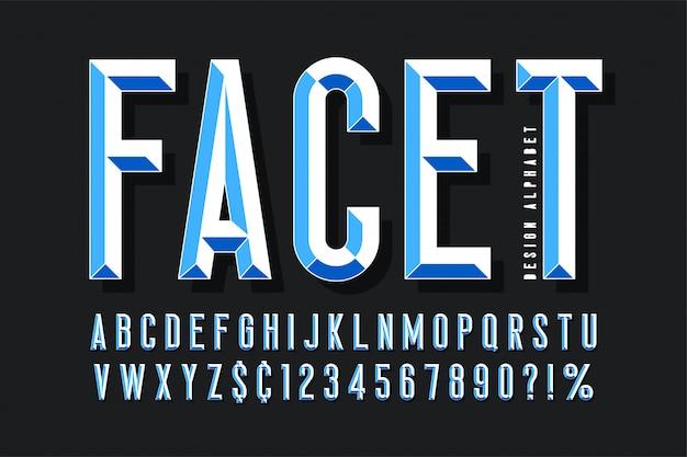 Police d'affichage originale avec facettes, alphabet, lettres et chiffres Vecteur Premium