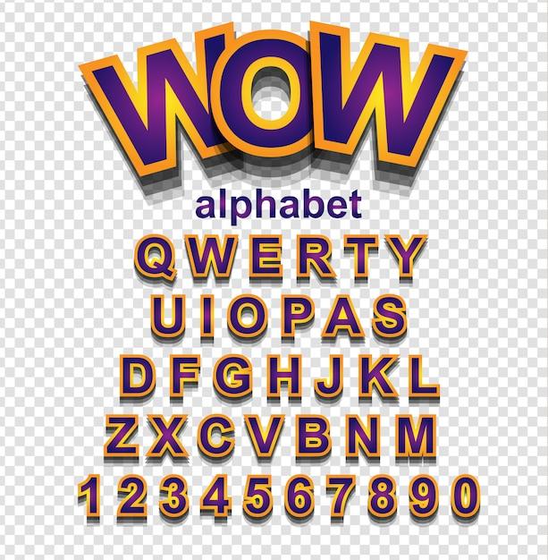 Police alphabet effet doré avec lettres et chiffres Vecteur Premium