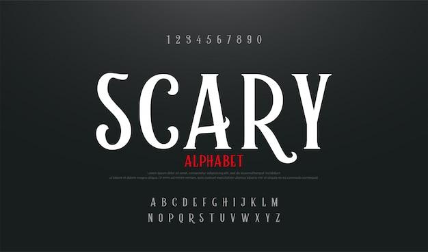 Police de l'alphabet film effrayant Vecteur Premium