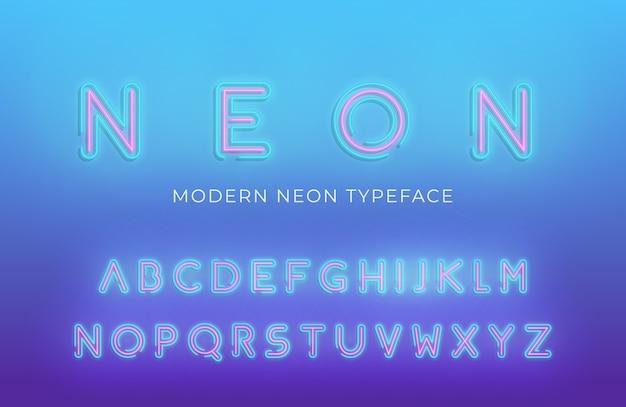 Police alphabet lumière néon. néon rougeoyant couleur 3d alphabet moderne Vecteur Premium