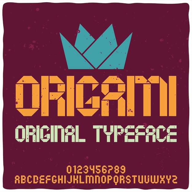 Police D'alphabet Vintage Nommée Origami. Vecteur gratuit