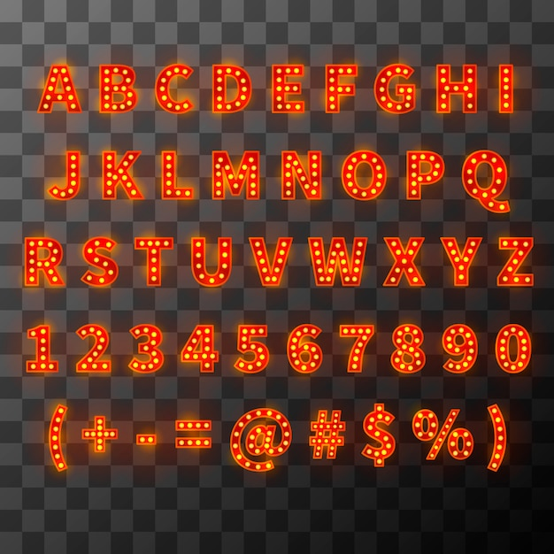 Police D'ampoule D'éclairage, Alphabet Lumineux Dans Un Style Cabaret Vecteur Premium