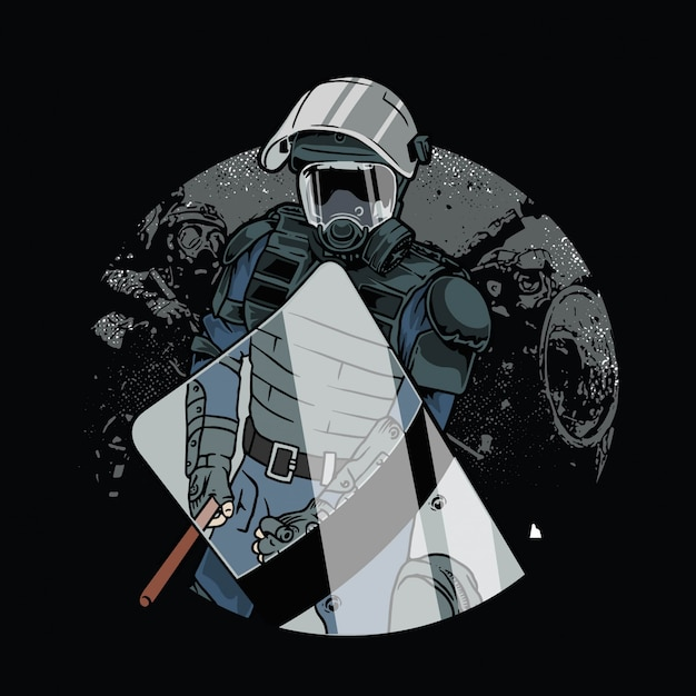 La Police En Armure Anti-émeute Vecteur Premium