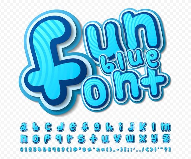 Police de bande dessinée. alphabet bleu dans le style de la bande dessinée, pop art. lettres et chiffres de dessins multicouches Vecteur Premium