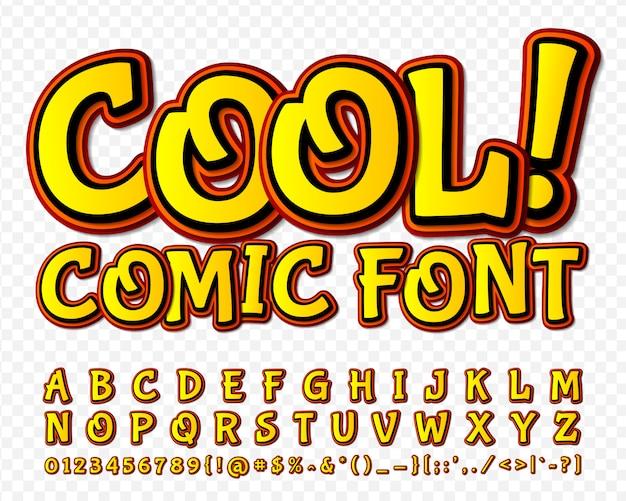Police de bande dessinée. alphabet jaune dans le style de la bande dessinée, pop art Vecteur Premium