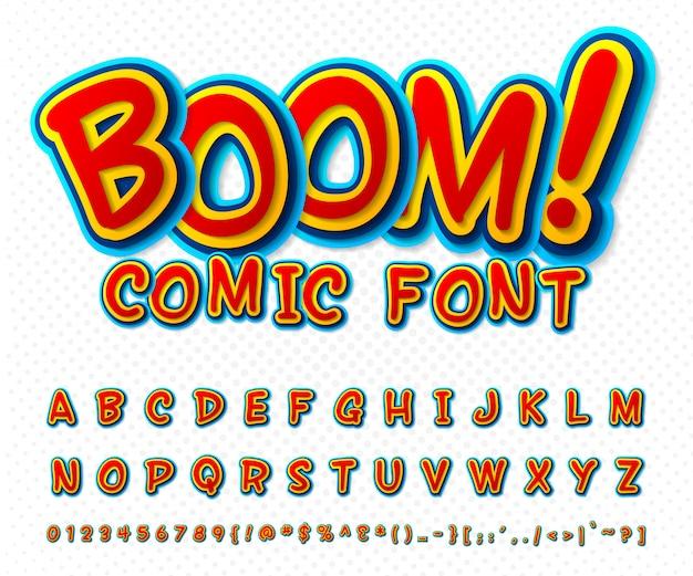 Police de bande dessinée créative. alphabet de vecteur en style pop art Vecteur Premium