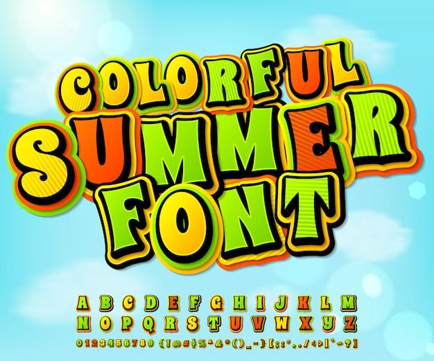 Police de bande dessinée d'été coloré. comics, style pop art Vecteur Premium