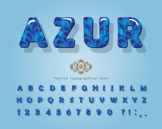 Police Brillante Azure 3d. Vecteur Premium