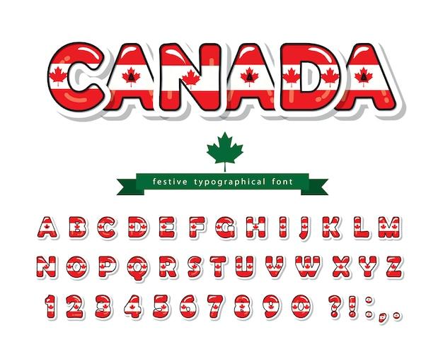 Police canada. drapeau national canadien. Vecteur Premium