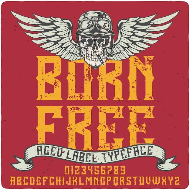 Police de caractères born free Vecteur Premium