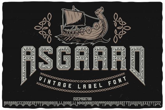 Police De Caractères De L'étiquette Asgaard Vecteur Premium