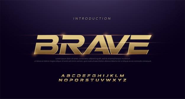 Police de caractères moderne italique alphabet doré de sport. polices de caractères typographiques 3d inoxydables dorées Vecteur Premium