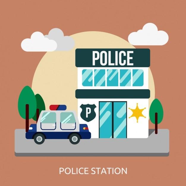 Police conception station de fond Vecteur gratuit