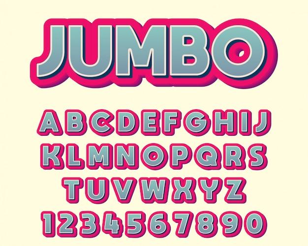 Police de conception de typographie colorée extra gras Vecteur Premium