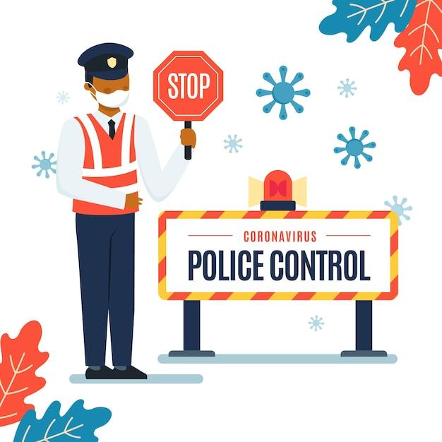 La Police Contrôle Le Coronavirus Vecteur gratuit