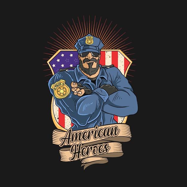 La Police Est Un Héros De L'amérique Vecteur Premium