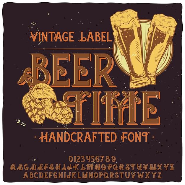 Police D'étiquette Originale Intitulée «beer Time» Vecteur gratuit