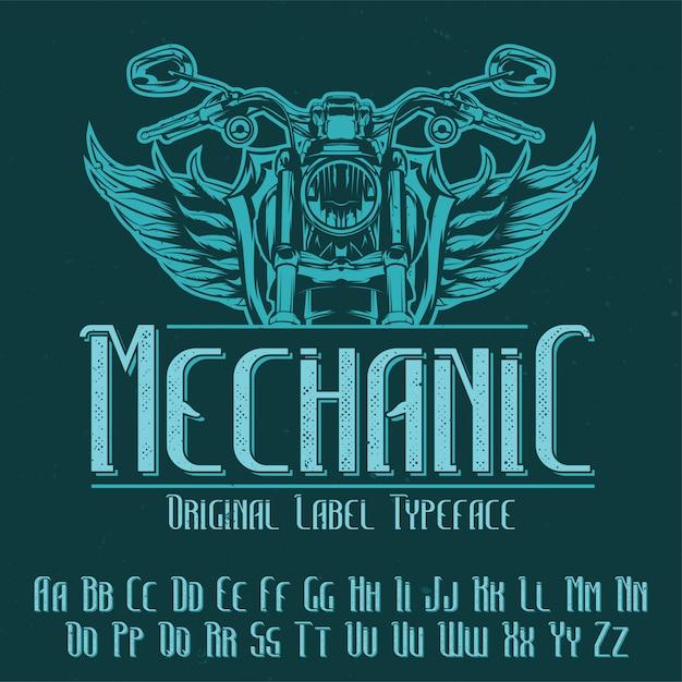 Police D'étiquette Originale Nommée 'mechanic'. Bon à Utiliser Dans N'importe Quelle Conception D'étiquettes. Vecteur gratuit