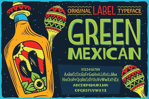Police De L'étiquette Vintage Nommée Green Mexican. Vecteur Premium