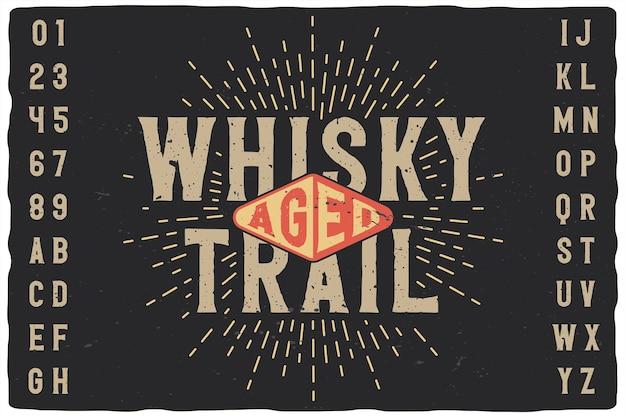 Police D'étiquette Vintage Nommée Whiskey Trail. Vecteur Premium