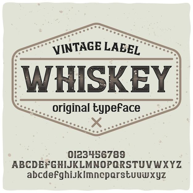 Police D'étiquette Vintage Nommée Whisky. Bonne Police Artisanale. Vecteur gratuit