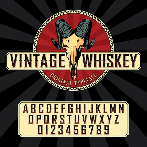 Police D'étiquette De Whisky Vintage Avec Conception D'étiquette D'échantillon Dans Un Style Vintage Vecteur gratuit