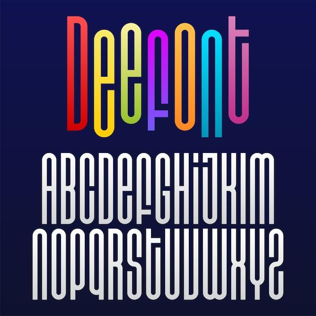 Police géométrique ronde ou alphabet avec lettres longues Vecteur Premium