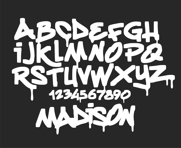 Police De Graffiti De Marqueur, Illustration De Typographie Manuscrite Vecteur Premium