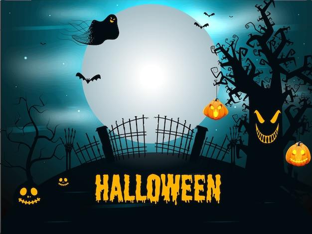 Police Halloween Dégoulinante Jaune Avec Jack-o-lanterns, Mains Squelettes, Fantôme Et Chauves-souris Volant Sur Fond De Forêt Effrayante De Pleine Lune. Vecteur Premium