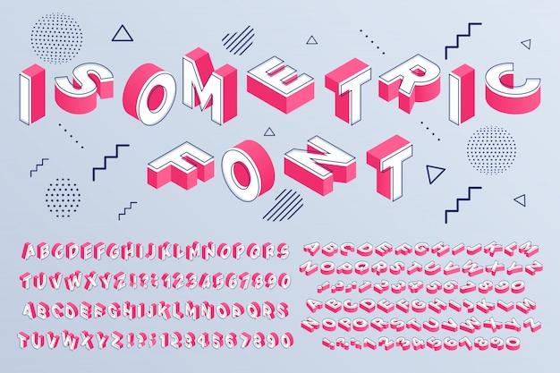 Police Isométrique. Alphabet Géométrique 3d Lettres Cubes Cubes Et Numéros De Perspective Sign Vector Set Vecteur Premium
