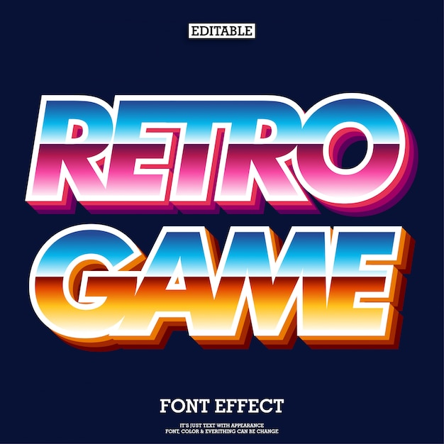 Police de jeu d'arcade rétro pour logotype de marque Vecteur Premium
