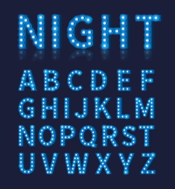 Police De Lampe Ampoule Bleue Vintage Ou Alphabet. Conception De Typographie, Décoration Lumineuse De Police, Vecteur Premium