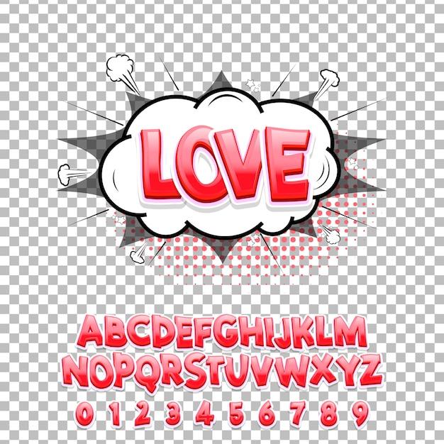 Police de lettrage comique love 3d. alphabet de vecteur. Vecteur Premium