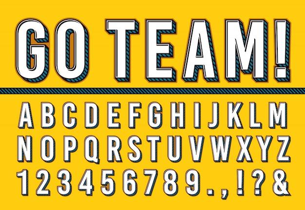 Police De Lettres De Sport. Collège Sport équipe Typographie Lettrage, Alphabet De Polices Sportives Et Numéros De Campus 3d Illustration Vectorielle Set Vecteur Premium